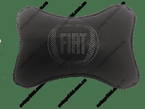 подушка на подголовник с логотипом fiat, чёрная экокожа с перфорацией