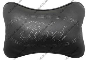 подушка на подголовник с логотипом ford, чёрная экокожа с перфорацией