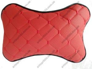 подушка на подголовник - красная экокожа с перфорацией и прошивкой