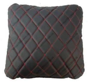 подушка  - чёрная экокожа с перфорацией и прошивкой
