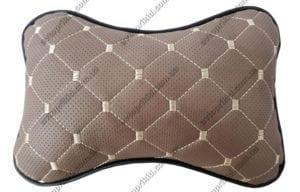 подушка на подголовник - коричневая экокожа с перфорацией и прошивкой