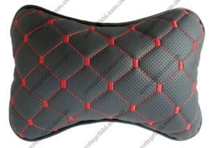 подушка на подголовник - чёрная экокожа с перфорацией и прошивкой