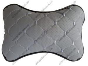 подушка на подголовник - серая экокожа с перфорацией и прошивкой