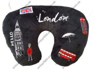 подголовник для путишествия, чёрный велюр с изображением символов города лондон